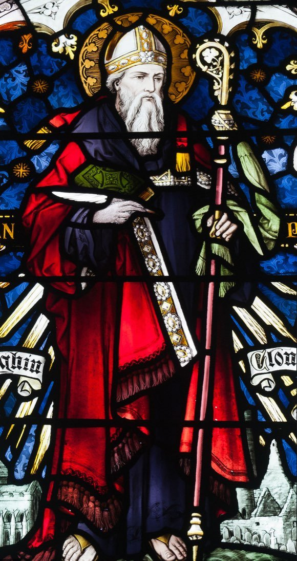Stained glass image of St. Ciaran