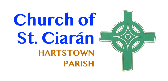 Logo of Church of St. Ciaran showing blue header orange subtext of Hartstown Parish and a green celtic cross